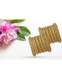 Mansiyaorange Traditional Fancy Designer Casual Party Wedding Wear Original Hand Work One Gram Gold AD Stone Two Antique Golden Bangle Set for Women Stylish (Premium Range)