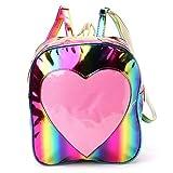 Bunter Frauen-holographischer Rucksack-kleine lederne Schultasche-Regenbogen-Umhängetasche mit transparentem Herzen rainbow