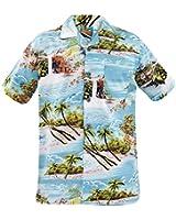 New Mens True Face Hawaiian Print Retro100% Cotton Shirt Beach Hula Holiday Top
