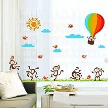 YESURPRISE Vinilo Decorativo Infantil Adhesivo Pegatina Pared Para Salón y Dormitorio Decoración Hogar Globo Monos Colorido