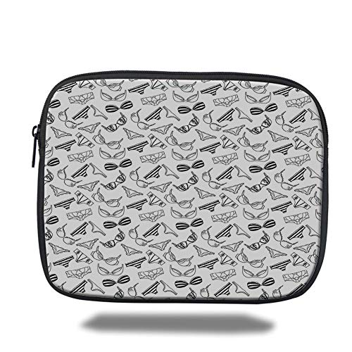 Tablet Bag for Ipad air 2/3/4/mini 9.7 inch,Black and White,Lingerie Underwear Pattern Bras and Panties Doodle Feminine Fashion Theme,Black White,3D Print -