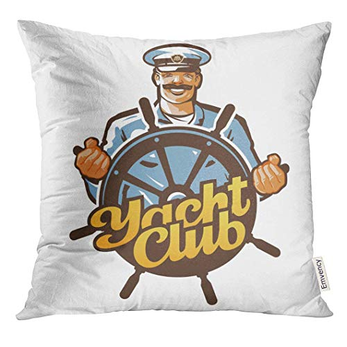 fgregtrg Eco-Friendly Decor Pillowcase Throw Pillow Cover Boat Yacht Club Ship Captain Sailor or Helm Steering Wheel Icon Man Cap,18x18 inch