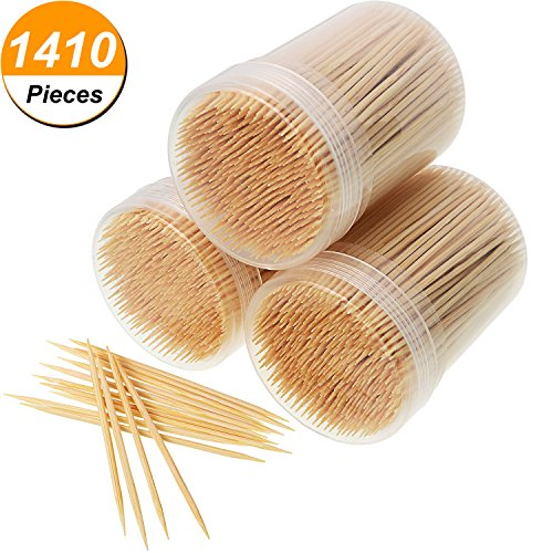 1410 Stück Zahnstocher Bambus Holz Zahnstocher Runde mit Aufbewahrungsbox, 3 Stück