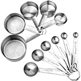 Accmor 11-Piece Stainless Steel Measuring Spoons Cups Set, Premium Stackable Tablespoons Measuring Set for Dry and Liquid Ingredients, Perfect Cooking Baking Tool(Upgraded Version)