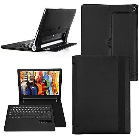 Yoga Tab 3 Pro 10 teclado funda, Cubierta Teclado Bluetooth Cubierta de La Caja Protectora De Folio para Lenovo Yoga Tab 3 Pro 10 inch - QWERTY - US,