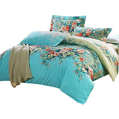 sourcingmap® Housse de couette taie d'oreiller Couvre-lit à fleurs Ensemble