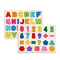 2 Piece Puzzle Set for Kids - Wooden Puzzles Set Toddler - Alphabet ABC, Numbers Recognition Toy Educational Puzzles for Kid Toddler Boys Girls