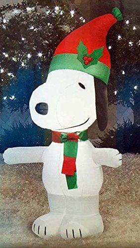 oliday Gemmy 89912 Aufblasbare Erdnüsse Snoopy mit Roter und grüner Weihnachtsmannmütze ()
