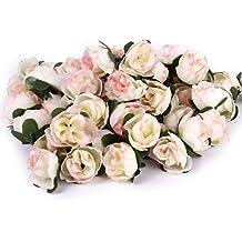 50pcs 3cm Artificiales Cabezas de Flores Rosas de Tela para La Boda Fiesta (Rosa claro)