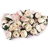 50pcs Roses Artificielles Capitules Têtes de Fleurs Décoration DIY pour Mariage Fête Maison (Rose Clair)