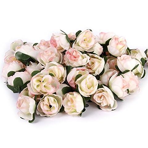 Approx. 50pcs Artificial Roses Flower Heads 3cm Wedding Decoration Light
