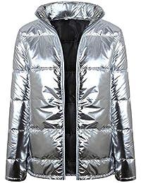 12e80b4b03987f Unifizz Frauen Metallic Silber Zip Up Puffer Warme Jacke Mantel Outwear  Tops mit Taschen