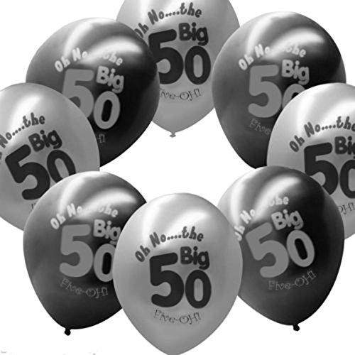 Kicode Gedruckt 50 Jahre alt Schwarzgrau Latex Ballons Dekorationen Glücklicher 50. Geburtstag Geburtstagsfeier