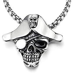 Collar de calavera pirata de acero Inoxidable.
