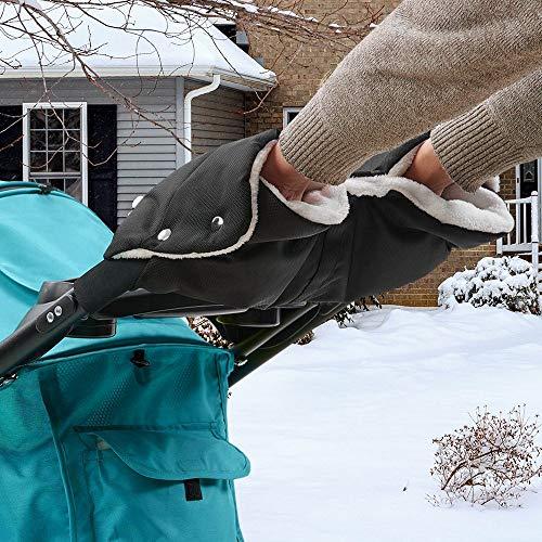 Komake Kinderwagen Handwärmer, Extra Dick Fleece Innenseite Handmuff Handschuhe Universalgröße für Kinderwagen Buggy Radanhänger, Wasserfest und windfest (Schwarz) -