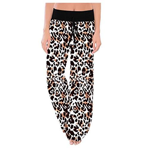 Myfilma Damenmode Baumwolle Bequem Stretch Leopardenmuster Hohe Taille Kordelzug Weites Bein Lounge Pants Weiche Freizeit Jogginghose
