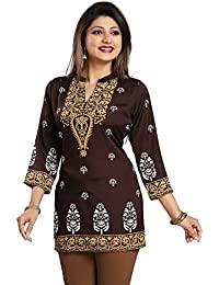 Color Petal Printed Crepe Short Brown Colour Kurti/Tunic/Top For Women And Girls