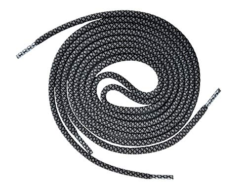 Knixmax Schnürsenkel Rund Flach, Extrem Reißfest, für Sneakers, Arbeitsschuhe, Stiefel, Turnschuhe, Wanderschuhe, Kampfstiefel und Wanderstiefel - Nylon und Polyester - schwarz grau 140