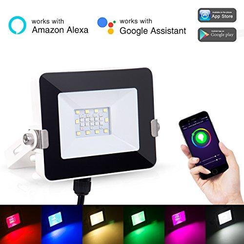 LOHAS Smart Kleine LED-Flutlicht, WLAN-Leuchten, Mehrfarben (2000k-9000k), 8 Modi, Wasserdicht (IP65), Farbwechsel Indoor / Outdoor Sicherheitsleuchten, 10W Spot (100W Äquivalent), Smart Lighting (Helle Beginnen Aktivität)