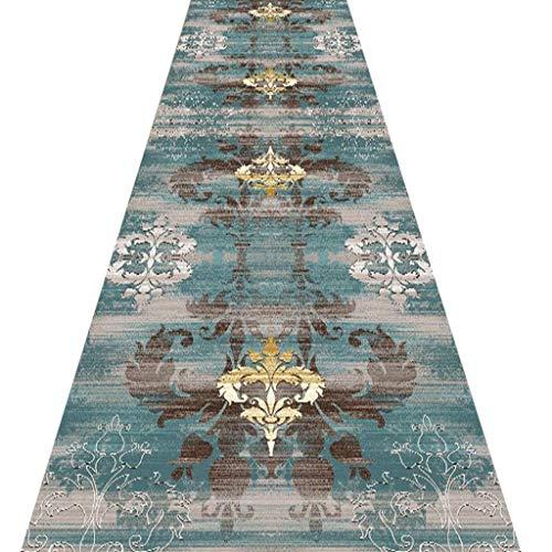 SESO UK- Rokoko Teppich Läufer für Flurtreppen, eleganter Handelshaushalts Hallen Blauer Teppich Runner (Size : 90×200cm)
