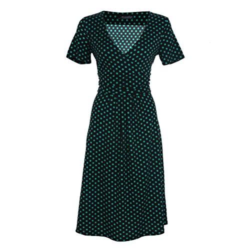 Nanxson(TM) Robe À Pois Col En V Profond Manches Courtes Été Pour Femmes LYQ0210 pois vert