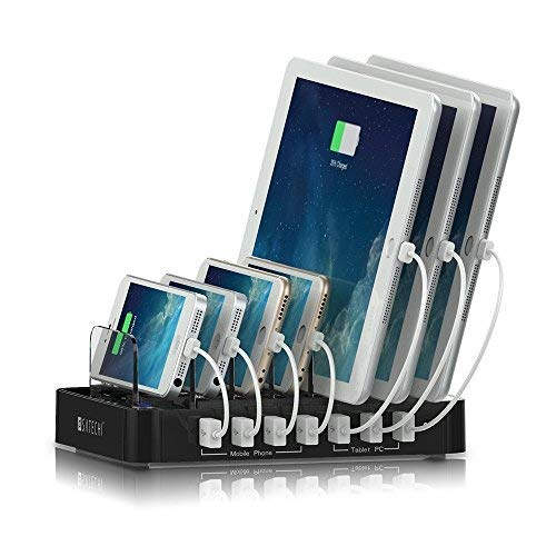 SATECHI 7-Port USB-Ladestation/Dockingstation - Kompatibel mit iPhone XS Max/XS/XR, 8 Plus/8, 2018 iPad Pro/Air/Mini, Samsung Galaxy S9 Plus/S9, S8, S7, Nexus, HTC and Anderen (Schwarz) - Usb Mini Beleuchtete Ladekabel