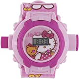 Shanti Enterprises Combo Sports Watch Multi Color Dial For Kids And Hello Kitty 24 Images Projector Watch