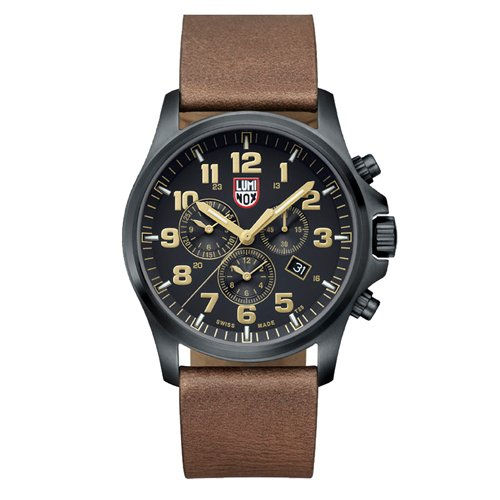 Luminox Men's Atacama Field Chronograph Alarm 45mm Brown Leather Band Steel Case Quartz Analog Watch 1949