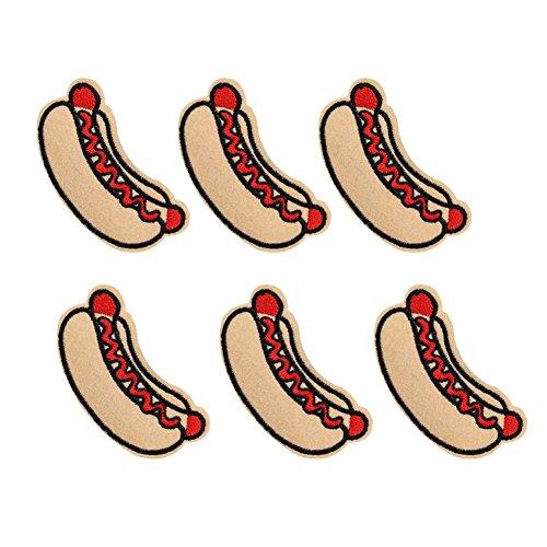 xunhui Hot Dog Patches Badge für Kleidung Eisen bestickt Patch Aufnäher Iron Patches Zubehör für Kleidung 6Stück