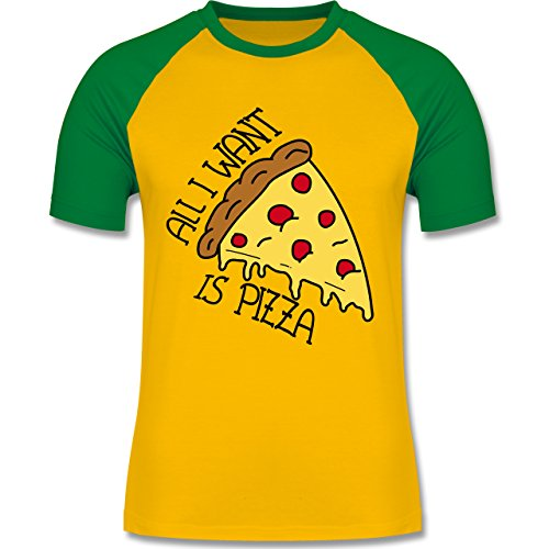 Statement Shirts - All I want is pizza - zweifarbiges Baseballshirt für  Männer Gelb/Grün