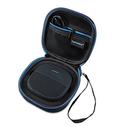 Supremery Bose SoundLink Micro Bluetooth Lautsprecher Case Hülle Eva Reisetasche mit Reißverschluss und Tragegriff - Wasserabweisend in Schwarz-Blau