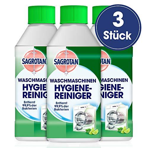 Sagrotan Waschmaschinen Hygiene-Reiniger (Maschinenreiniger für eine hygienische Waschmaschine) 3 x 250 ml Reiniger im praktischen Vorteilspack - Frische Wäsche Waschmittel
