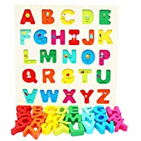 TOWO Wooden Alphabet Puzzle for Toddlers- Chunky Size Peg Puzzle - Alphabet Puzzle Board for Early Learning- Wooden Puzzle educational toy for Baby Toddlers Montessori Learning
