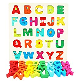 Toys of Wood Oxford Blocchi Alfabeto in Legno – Puzzle Lettere Colorate in Legno – Giocattoli educativi di apprendimento precoce per Bambini