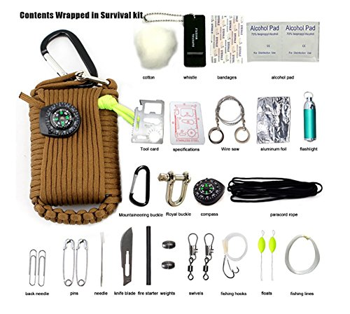 ZENDY 23 in 1 / Paracord Seil Multi-Funktions-Outdoor-Survival-Kit (7 Strang Kabel) (Braun)