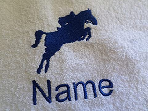 Enfant Peignoir de bain à capuche avec un cheval Jockey Logo et nom de votre choix en rose. Âge 2, 4, 6, 8, 10ou 12, rose, Age 12