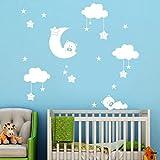 Baby Zimmer Wandaufkleber,OHQ Kinderzimmer Dekoration Kunst DIY Große Wolken Mond Sterne Wandtattoos (Weiß)