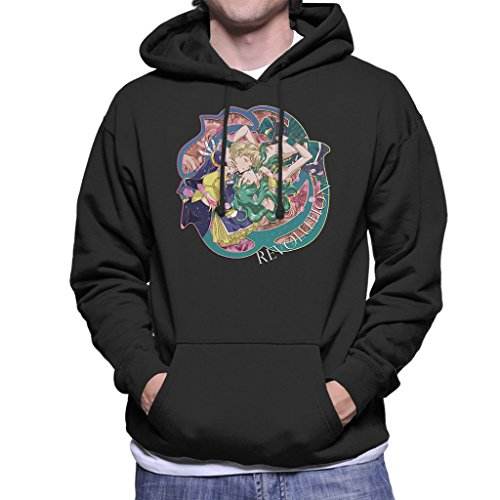 Sailor Moon Revolution Uranus And Neptune Embrace Men's Hooded Sweatshirt Black