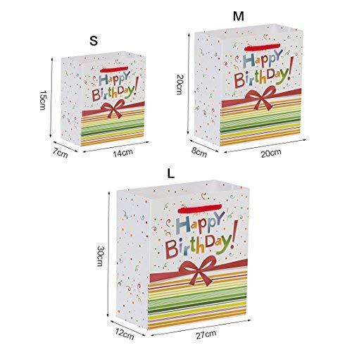 Aibada Bolsa de Regalo de cumpleaños Papel Kraft Blanco Bolso