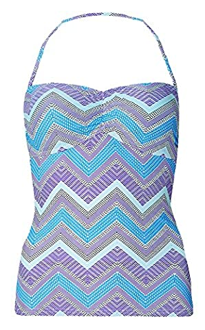 Ladies Ex M&S Halterneck / Strapless Tankini Top (22, Purple & Blue Chevron)