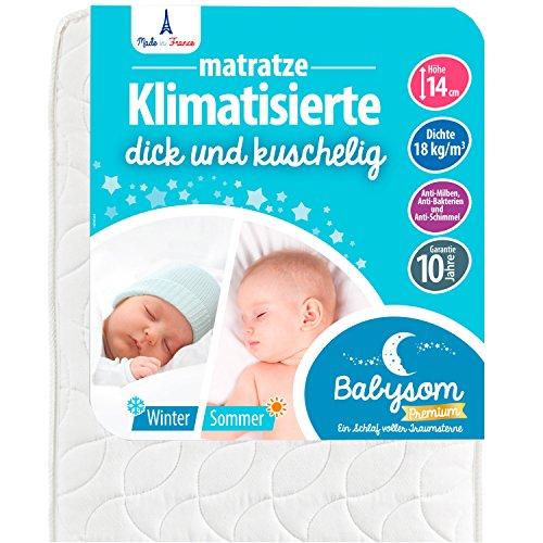 *Babysom – Babymatratze | Kindermatratze Sommer/Winter – 60x120cm – Atmungsaktiv – Luftdurchlässiger Kaltschaum – Höhe 14cm*