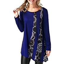 3afbf291aae Reaso Femmes Blouse Casual Tunique Elegant Patchwork Chemise Manche longue  T-shirt Col Rond Pullover