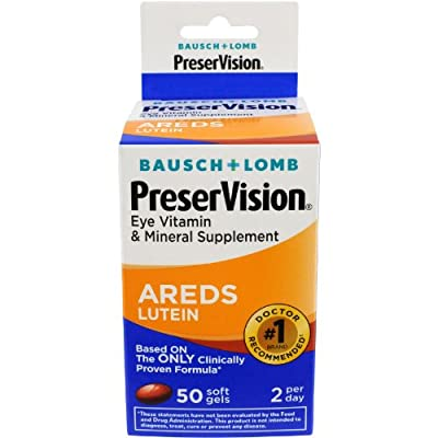 Bausch & Lomb Preservision With Lutein Eye Vitamin & Mineral Supplement, 50-Count Soft Gels from Bausch & Lomb Personal Product.