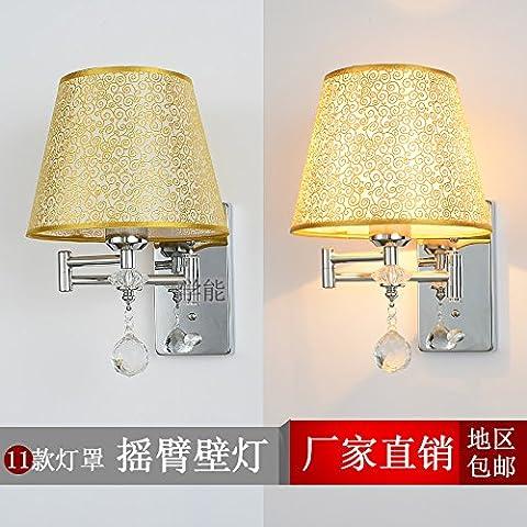 Moderno y minimalista LLLDB Balancines creativo luz regulable en color plata cromado para colgar en la pared sobre la cama, dormitorio pasillo no Interruptor ajustable