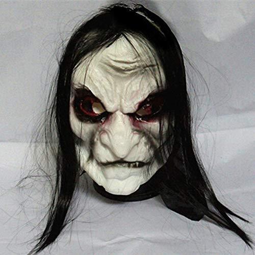 MASKUOY Halloween-Maske Halloween Kostüme Maske Schwarz Langes Haar Cosplay Geister Maske Blooding Ghost Halloween Maske