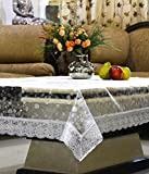 #4: Kuber Industries Transparent 3D Design Center Table Cover 4 Seater 40*60 Inches (Silver Lace)