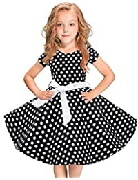 Mädchen Vintage A Linie Kleid 1950er Retro Rockabilly Swing Kleider Blume  Polka Dots Baumwolle Kleid Prinzessin… 50c83a96c5