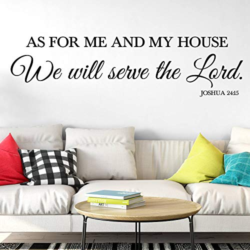 Dozili Wandtattoo/Wandaufkleber Joshua 24:15 As for Me and My House We Will Serve The Lord (englischsprachig), englischer Text, englischer Text, 25,4 x 99,1 cm