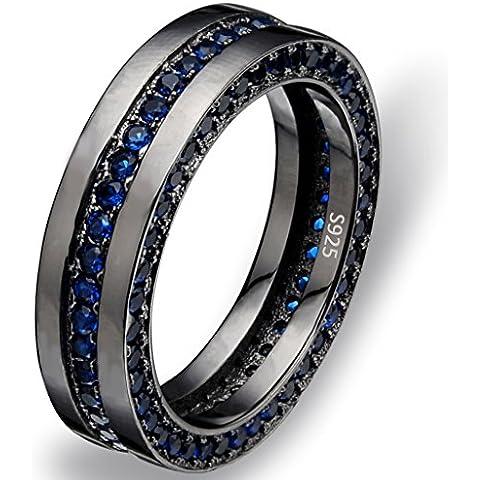 EVER FAITH® Nero Argento 925 CZ semplici uomini di fascia di nozze anello di zaffiro Colore 6MM