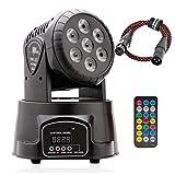 100W DMX512 LED Lichteffekte Discolicht Mini 4 in 1 RGBW Partylicht mit Professionell 9/14 5 Control Mode Moving Head für DJ, Disco,Club Partei,Draussen(mit Fernbedienung und DMX-Linie) (7led RGBW)